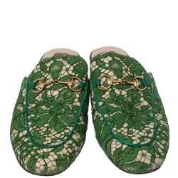 Gucci Green Lace Princetown Horsebit Mule Sandals Size 36.5