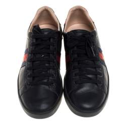 Gucci Black Leather Ace Web Low Top  Sneaker Size 39.5