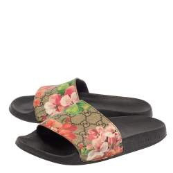 Gucci Multicolor Coated Canvas GG Blooms Supreme Slide Sandals Size 36