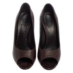 Gucci Brown Guccissima Leather Peep Toe Pumps Size 37