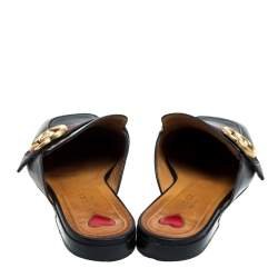 Gucci Black Leather And Canvas GG Web Princetown Slide Mules Size 37