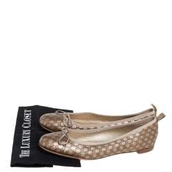 Gucci Golden Micro Guccissima Leather Bow Detail Ballet Flats 40