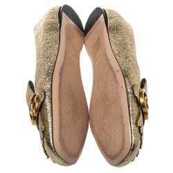 Gucci Metallic Gold Foil Leather GG Marmont Fringe Detail Flats Size 38.5