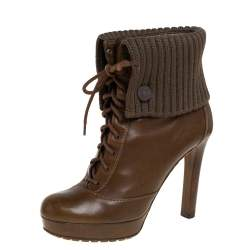 Gucci Brown Fabric And Leather Lace Up Boots Size 38
