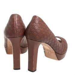 Gucci Brown Microguccissima Leather Peep Toe Platform Pumps Size 38.5
