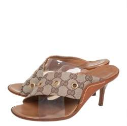 Gucci Vintage Beige/Brown GG Canvas And PVC Criss Cross Sandals Size 36.5