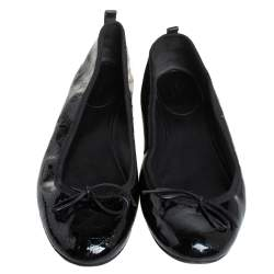 Gucci Black Microguccissima Patent Leather Bow Ballet Flats Size 41.5