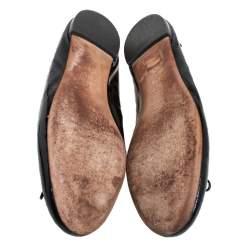 Gucci Black Microguccissima Patent Leather Bow Ballet Flats Size 41.5