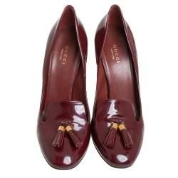 Gucci Burgundy Patent Leather Mischa Tassel Detail Pumps Size 39.5