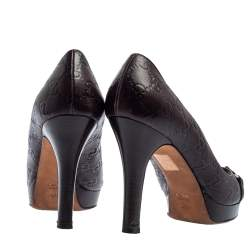 Gucci Brown Guccissima Leather New Hollywood Horsebit Peep Toe Pumps Size 41