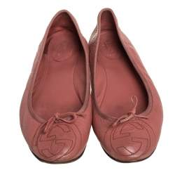 Gucci Pink Leather Slip On Ballet Flats Size 40