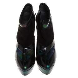 Gucci Black/Green Holographic Leather And Suede Platform Ankle Boots Size 38