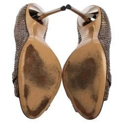 Gucci Brown Python Horsebit Pumps Size 38.5