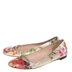 Gucci Multicolor Floral Printed Leather Blooms Ballet Flats Size 36