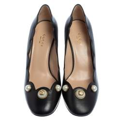 Gucci Black Leather  Pearl Embellished Block Heel Pumps Size 36