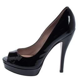 Gucci Black Patent Leather Peep Toe Platform Pumps Size 36.5