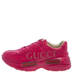 Gucci Pink Leather Rhyton Logo Print Low Top Sneakers Size 36