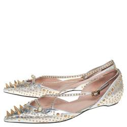Gucci Silver Leather Unia Spiked Ankle Strap Ballet Flats Size 41