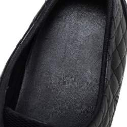 Gucci Black Quilted Leather Web Low Top Sneakers Size 37