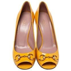 Gucci Yellow Patent Leather Horsebit  Peep Toe Pumps Size 37