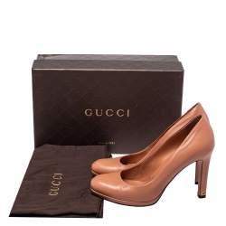 Gucci Orange Leather Round Toe Pumps Size 37
