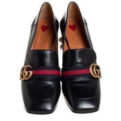 Gucci Black Leather Web GG Marmont Loafer Pumps Size 38