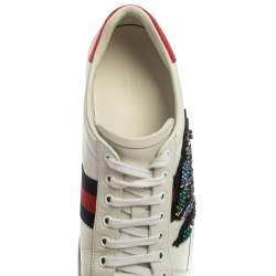 Gucci White Leather Ace Snake Crystal Embellished Low Top Sneakers Size 38.5