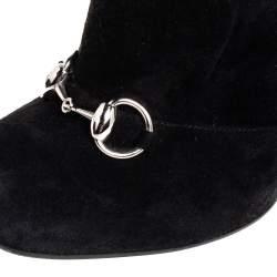 Gucci  Black Suede Horsebit Block Heel Boots Size 38