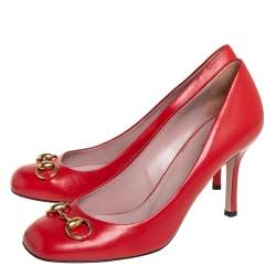 Gucci Red Leather Horsebit Pumps Size 39