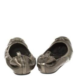 Gucci Metallic Olive Green Guccissima Leather Scrunch Ballet Flats Size 39.5