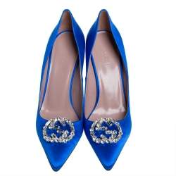 Gucci Blue Satin GG Crystal Pointed Toe Pumps Size 39