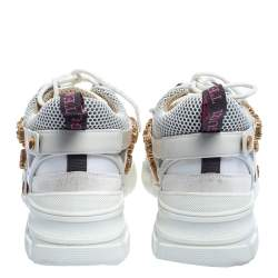 Gucci White Leather And Mesh Flashtrek Removable Crystals Sneaker Size 40