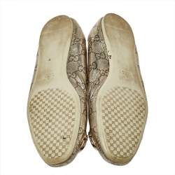 Gucci Metallic Gold Guccissima Leather Horsebit Ballet Flats Size 38