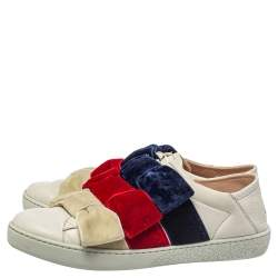 Gucci White Bow Velvet And Leather New Ace Low Top Sneakers Size 36