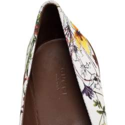 Gucci Multicolor Flora Canvas And Leather Horsebit Ballet Flats Size 40