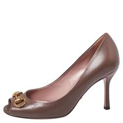 Gucci Brown Leather Horsebit Peep Toe Pumps Size 36