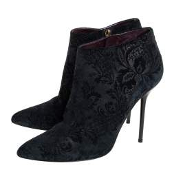 Gucci Black Suede Zipper Detail Ankle Boots size 38
