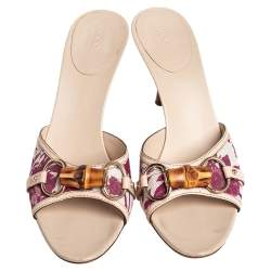 Gucci Beige/White Flora Canvas And Leather Bamboo Horsebit Slides Sandals Size 40