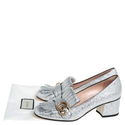 Gucci Silver Crinkle Leather GG Marmont Pumps Size 38