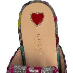 Gucci Silver Fabric Embroidered G Princetown Mule Flats Size 38