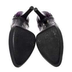 Gucci Purple Brogue Leather Cap Toe Platform Pumps Size 39