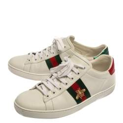 Gucci White Canvas And Leather Ace Sneakers Size 39