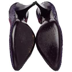 Gucci Purple Sequined Satin And Velvet Half D'orsay Pumps Size 38.5