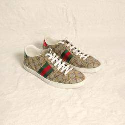 Gucci GG Supreme Canvas Bees Ace Sneakers Size EU 37.5