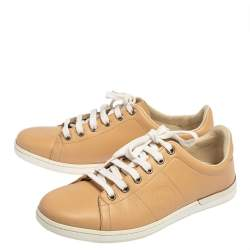 Gucci Beige Leather Lace Up Low Top Sneakers Size 36