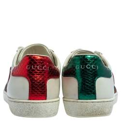 Gucci White Leather Ace Web Heart Detail Lace Up Sneakers Size 35.5