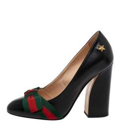Gucci Black Leather Web Bow Block Heel Pumps Size 37
