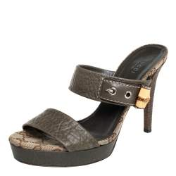 Gucci Green Leather Bamboo Platform Sandals Size 38
