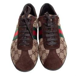 Gucci Brown/Beige Suede And GG Canvas Classic Web Low Top Sneakers Size 38.5