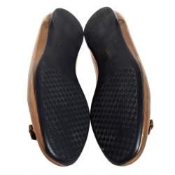 حذاء فلات باليه غوتشى فيونكة سليب أون جلد ذهبى مقاس 39
